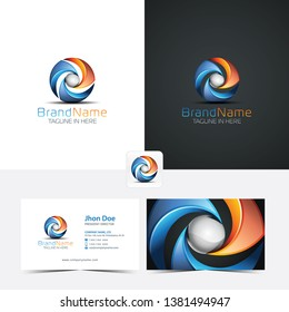 3D Logo In Circle Shape With Business Card and Favicon in Blue and Orange Color 03
