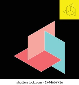 3d logo depicting 3 paper cards arranged to resemble a triangle. Vector logo with 3 soft colors in Eps 8.
