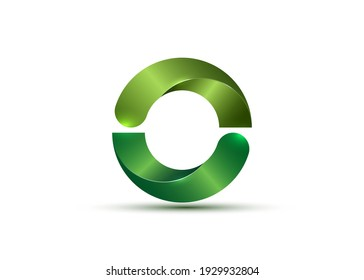 3D Logo, glossy Bio Design with green Semi Circles. Ecologic round, alphabet, impossible letter O symbol or double C. Zero number vector Eco circle sign isolated on white background