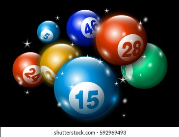 3D Lottery Keno Number Ball Sparkling on Black Background