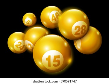 3D Lottery Keno Number Ball-Gold