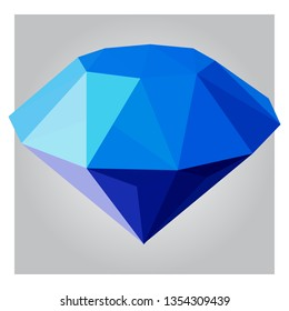 3d low poly blue diamond polygon design