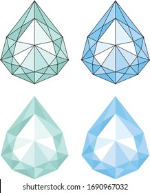 3d low poly crystal diamond water drop polygon art