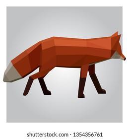 3d low poly fox polygon design