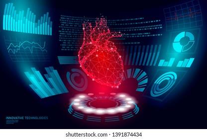 3D low poly human heart HUD display doctor online. Future technology medicine laboratory web examination. Blood system disease diagnostics futuristic UI vector illustration