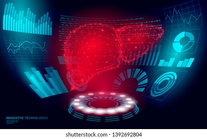 3D low poly human liver laser surgery operation HUD UI display. Future technology polygonal medicine disease drug treatment. Blue abstract medicine pharmacy hepatitis cancer vector illustration