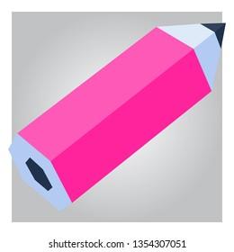 3d low poly pink pencil art design