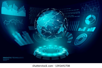 3D low poly planet Earth virtual reality HUD UI display. Future technology polygonal global international communication. Blue world map Asia China Japan Indonesia vector illustration