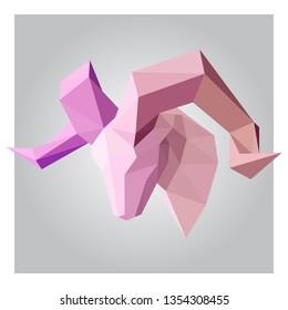 3d low poly ram animal head polygon design