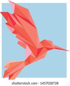 3D Low Poly Red Fire Bird Polygon Art