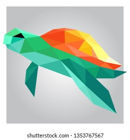 3D low poly sea turtle