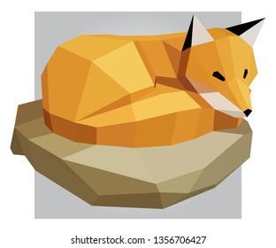 3D low poly yellow fox polygon art