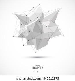 3D Low Polygon Geometry Background. Abstract Polygonal Geometric Shape. Lowpoly Minimal Style Art. Vector Illustration.