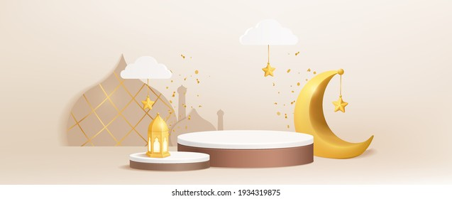 Luxury Islamic Podium with gold crescent moon, traditional islamic lantern, and mosque. Horizontal Islamic Banner for product showcase, Product presentation, cosmetic product, base, ramadan sales.