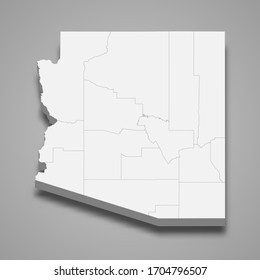 3d map of Arizona is a state of United States