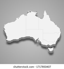 3d map of Australia with borders of regions