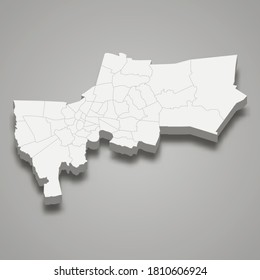 3d map of Bangkok is a province of Thailand. Vector illustration