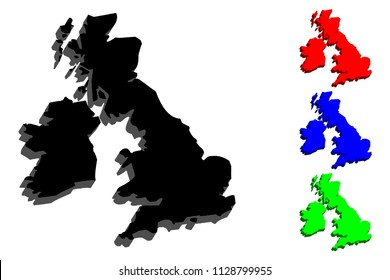 3D map of British Isles (United Kingdom of Great Britain and Northern Ireland, Republic of Ireland) - black, red, blue and green - vector illustration