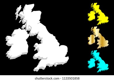 3D map of British Isles (United Kingdom of Great Britain and Northern Ireland, Republic of Ireland) - white, yellow, blue and gold - vector illustration