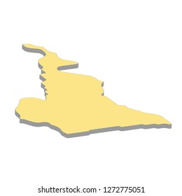 3d map of Cameroon. Silhouette of Cameroon map vector illustration