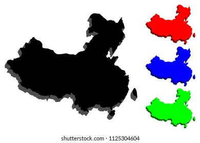 3D map of China (People's Republic of China, PRC) - black, red, blue and green - vector illustration