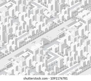 3d map of city on white design street town buildings modern urban house and skyscrapers. Vector isometric illustration of flat style for concept business background.