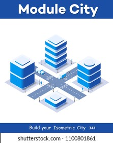 3d map of city on white blue design street town buildings modern urban house and skyscrapers. Vector isometric illustration of flat style for concept business background.