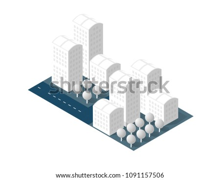 3 D Map City On White Design Stock Vector Royalty Free 1091157506