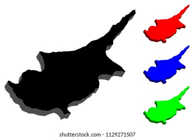 3D map of Cyprus (Republic of Cyprus) - black, red, blue and green - vector illustration