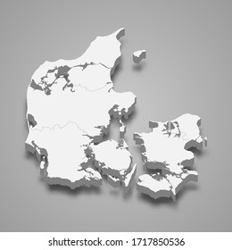 3d map of Denmark with borders of regions