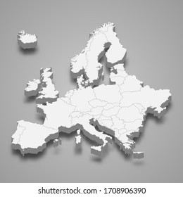 3d map of Europe with borders