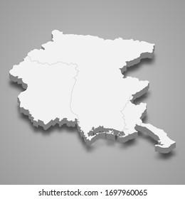 3d map of Friuli-Venezia Giulia is a region of Italy