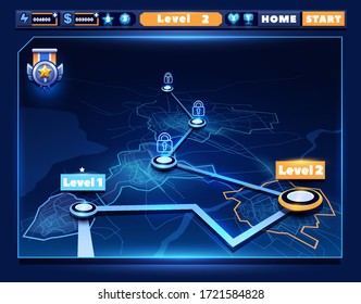 3D map of game levels in the form of a futuristic city. Line map and game ui elements in a dark background. Vector illustration.