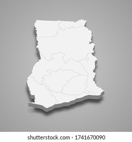 3d map of Ghana with borders of regions
