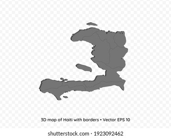 3D map of Haiti with borders isolated on transparent background, vector eps illustration