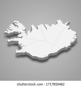 3d map of Iceland with borders of regions
