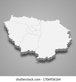 3d map of Ile-de-France is a region of France