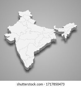 3d map of India with borders of regions
