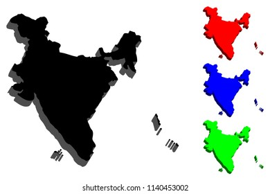 3D map of India (Republic of India) -  black, red, blue and green - vector illustration