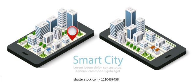 3d map isometric city of mobile navigator of location sign on street direction. Concept illustration of technology navigation for travel and business background.