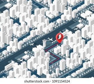 3d map isometric city of navigator of location sign on street direction. Concept illustration of technology navigation for travel and business background.