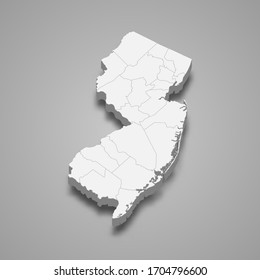 3d map of New Jersey is a state of United States