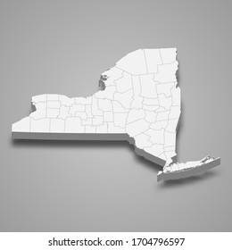 3d map of New York is a state of United States