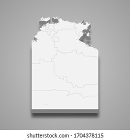 3d map of Northern Territory is a state of Australia