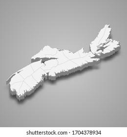 3d map of Nova Scotia is a province of Canada