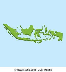 A 3D map on blue water background of  Indonesia