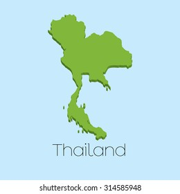 A 3D map on blue water background of Thailand