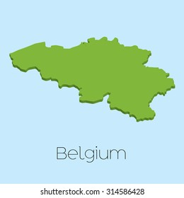 A 3D map on blue water background of Belgium