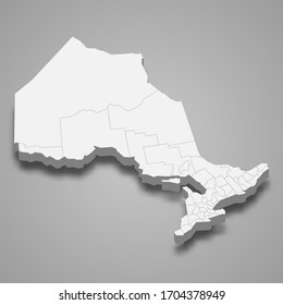 3d map of Ontario is a province of Canada