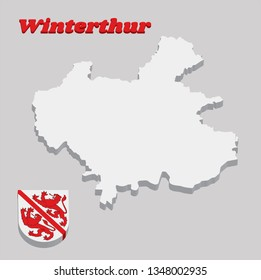 3D Map outline and Coat of arms of Winterthur, The city in the canton of Zurich in Switzerland with name text Winterthur.